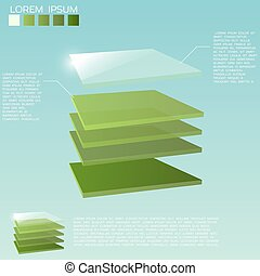 3d layers background - Five 3D square layers in green colors...
