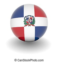 High resolution ball with flag of Dominican Republic - 3D...