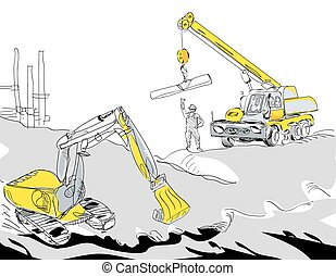 Excavator and Crane - Hand drawn illustration of a hydraulic...