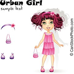 Urban fashion girl in a pink dress for a party