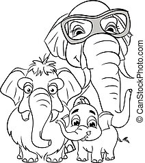Outline drawing of the family of elephants.