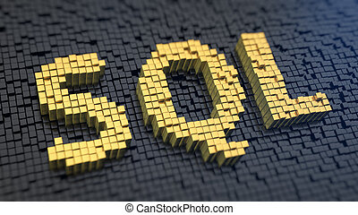 SQL cubics - Acronym SQL of the yellow square pixels on a...