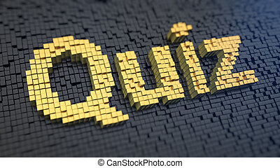 Quiz cubics - Word 'Quiz' of the yellow square pixels on a...
