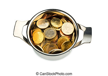 Euro coins - a cooking pot filled with euro coins, symbolic...