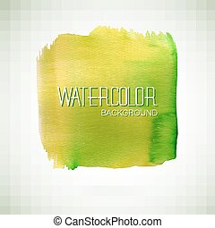 Green watercolor banner - vector illustration. - Watercolor...