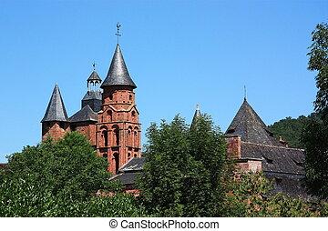 Collonges la Rouge - The church spires of Collanges la...