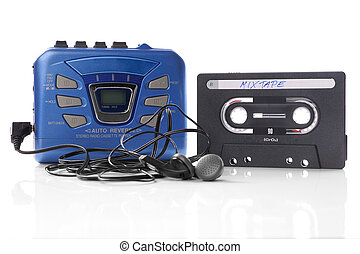 music cassette and walkman - old-fashioned music cassette...