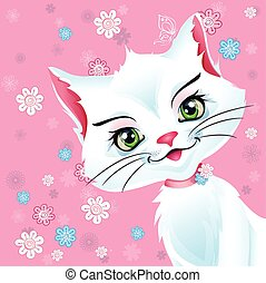 Illustration of a white cat on a pink background