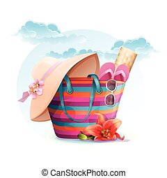 Beach bag with mat, hat