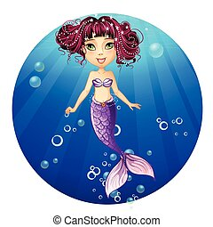 Illustration of a mermaid with pink hair and green eyes