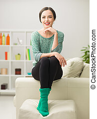 relaxing happy woman at home