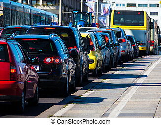 traffic jams in the city - in the rush hour traffic jam cars...