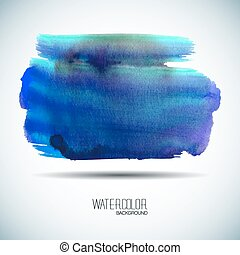 Blue watercolor banner - vector illustration. - Watercolor...