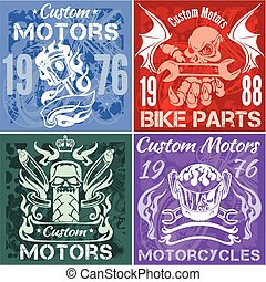 Set of vintage motorcycle labels. Vector stpck illustration....