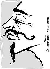 vintage young man illustration - Sketch Drawing Illustration...