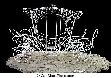 Vintage brougham - Metal brougham without horses on a black...