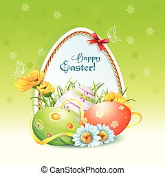 Happy Easter card with flowers and easter eggs