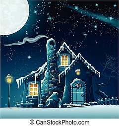 Illustration of a winter night with a fabulous house and...