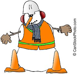 Snowman Construction Worker