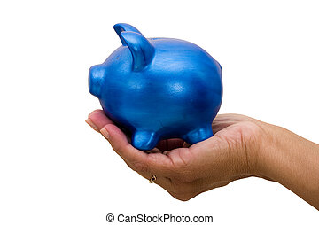 Savings - A piggy bank in hands isolated on a white...
