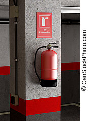 fire extinguisher - design in 3d of a fire extinguisher on a...