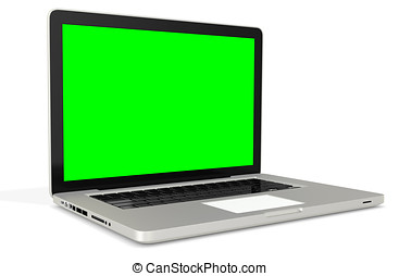3d metal silver office notebook with green screen on white...
