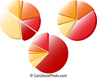 Pie Charts - Set of 3 pie charts Available in jpeg and eps8...