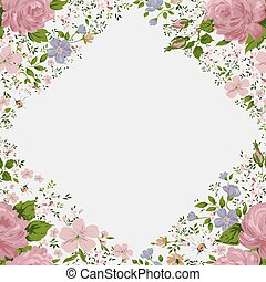 Beautiful  pink roses frame on white. Vector