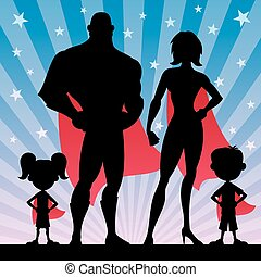 Superhero Family - Square banner of superhero family. No...