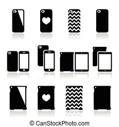Smartphone, tablet case icons set - Vector icons set of...