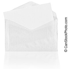 Blank envelope with reflection on white background