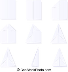 Making a paper plane - Illustration showing the steps to...