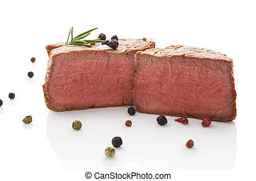Beefsteak. - Beefsteak with rosemary and colorful peppercorn...