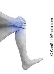 Man holding his injured knee. - Knee injury. Man holding his...