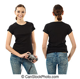 Smiling brunette with blank black shirt