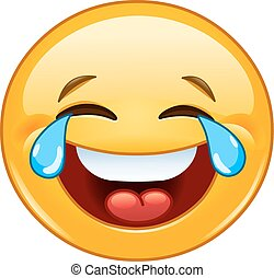 Emoticon with tears of joy - Laughing emoticon with tears of...