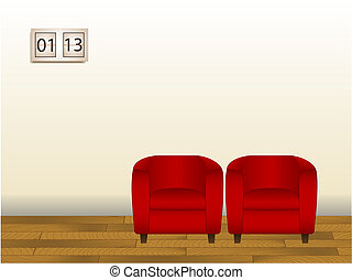 Waiting Room - Illustration of 2 chairs in a waiting room....