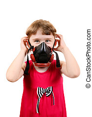 Little Girl in Gas Mask - Cheerful Little Girl in in Gas...