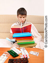 Sick Student with a Books - Sick Teenager with the Books on...
