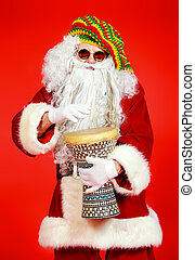 merry drummer - Casual Santa Claus hippie playing a drum...
