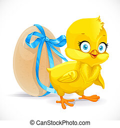 Fluffy little chicken and egg tied with a blue ribbon isolated on a white background