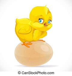 Little cute yellow cartoon chick sitting on an egg isolated on a white background