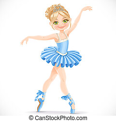 Beautiful ballerina girl dancing in blue dress isolated on a...