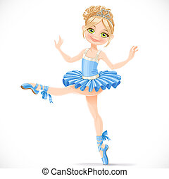 Graceful ballerina girl dancing in blue dress isolated on a...