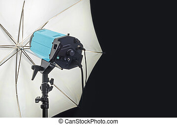 Photography Studio Flash Head with Umbrella and dark black...