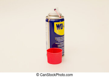 isolated object - A can of liquid for defrosting locks on a...