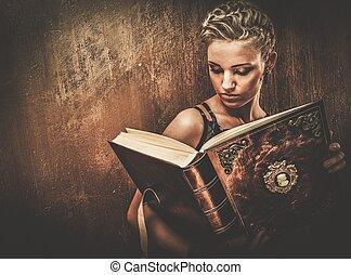 Steampunk, niña, con, Un, libro,