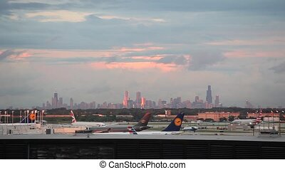 Chicago airport and skyline of the downtown, Illinois, USA