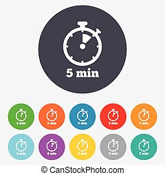 Timer sign icon. 5 minutes stopwatch symbol. Round colourful...