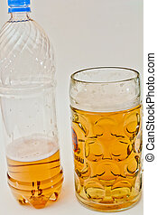 isolated object - Bottle of beer and a glass on a white...